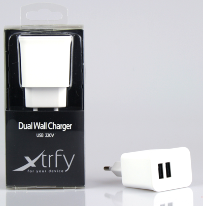 Xtrfy Dual Wall Charger, USB, 220V White