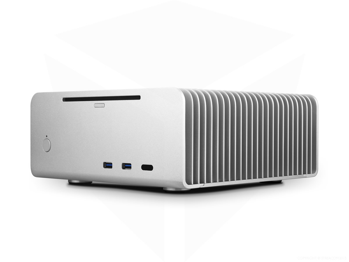 Streacom FC8 ALPHA Fanless Chassis Silver, Extruded Aluminum,  with Optical slot